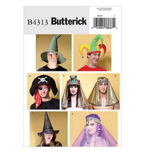 BUTTERICK B4313 Costume Hats WITCH WARLOCK PIRATE, Egyptian, WIZARD JESTER ~ SEWING PATTERN (Easy Witch Costume)