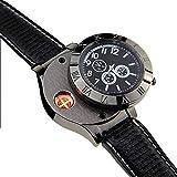 HUIHUAN Reloj Lighter Nuevo Reloj Militar USB Lighter Reloj de pulsera casual para hombres con encendedor a prueba de viento Cigarette sin cigarro