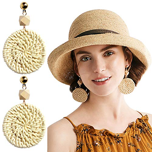 - Rattan Earrings Handmade Straw Wicker Braid Hoop Drop Dangle Earrings Lightweight Geometric Acrylic Statement Earrings for Women Girls (B: 1 Pair Round Earrings)