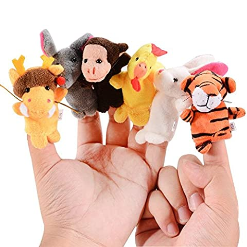 Acekid 12pcs Animal Finger Puppet Chinese Zodiac Hand Puppets Toddler Beding Time Props Baby Shower - Monkey Finger Puppet