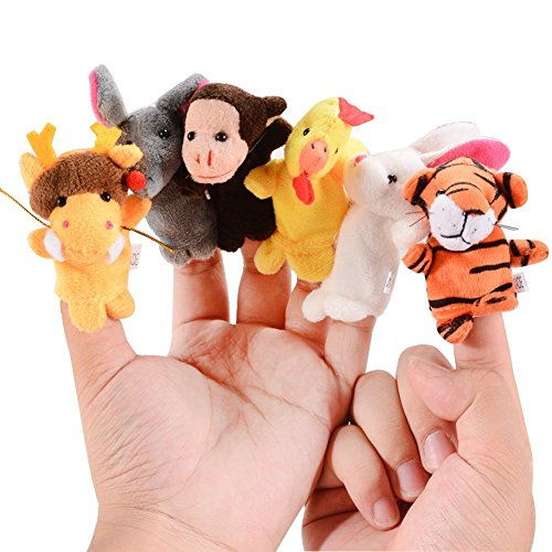 Acekid 12pcs Animal Finger Puppet Chinese Zodiac Hand Puppets Toddler Beding Time Props Baby Shower Gift - Puppet Animal Doll