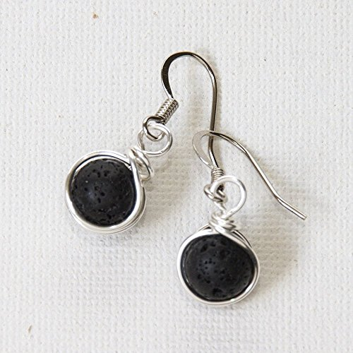 Aromatherapy Drop Earrings - 8 mm Black Lava Rock Handmade Wire Wrapped Jewelry - Handmade Wire Wrapped Earrings