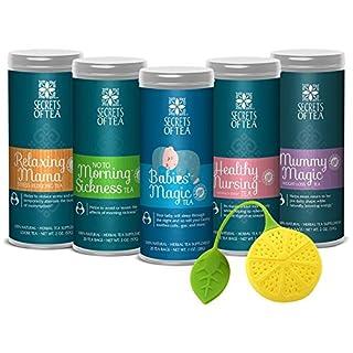Secrets of Tea Maternity Gift Set – Organic, Natural, Safe – No to Morning Sickness + Babies' Magic + Healthy Nursing + Mummy Magic Weight Loss + Relaxing Mama Teas + Silicone Tea Infuser