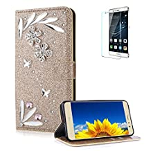 Funyye 3D Bling Flower Diamond Wallet Leather Case for Huawei P8 Lite 2017,Gold Premium Glitter Crystal Shiny Rhinestone PU Leather Protective Cover Case,Multifunctional Magnetic Flip with Stand Credit Card Holder Slots Case for Huawei P8 Lite 2017/P9 Lite 2017 + 1 x Free Screen Protector