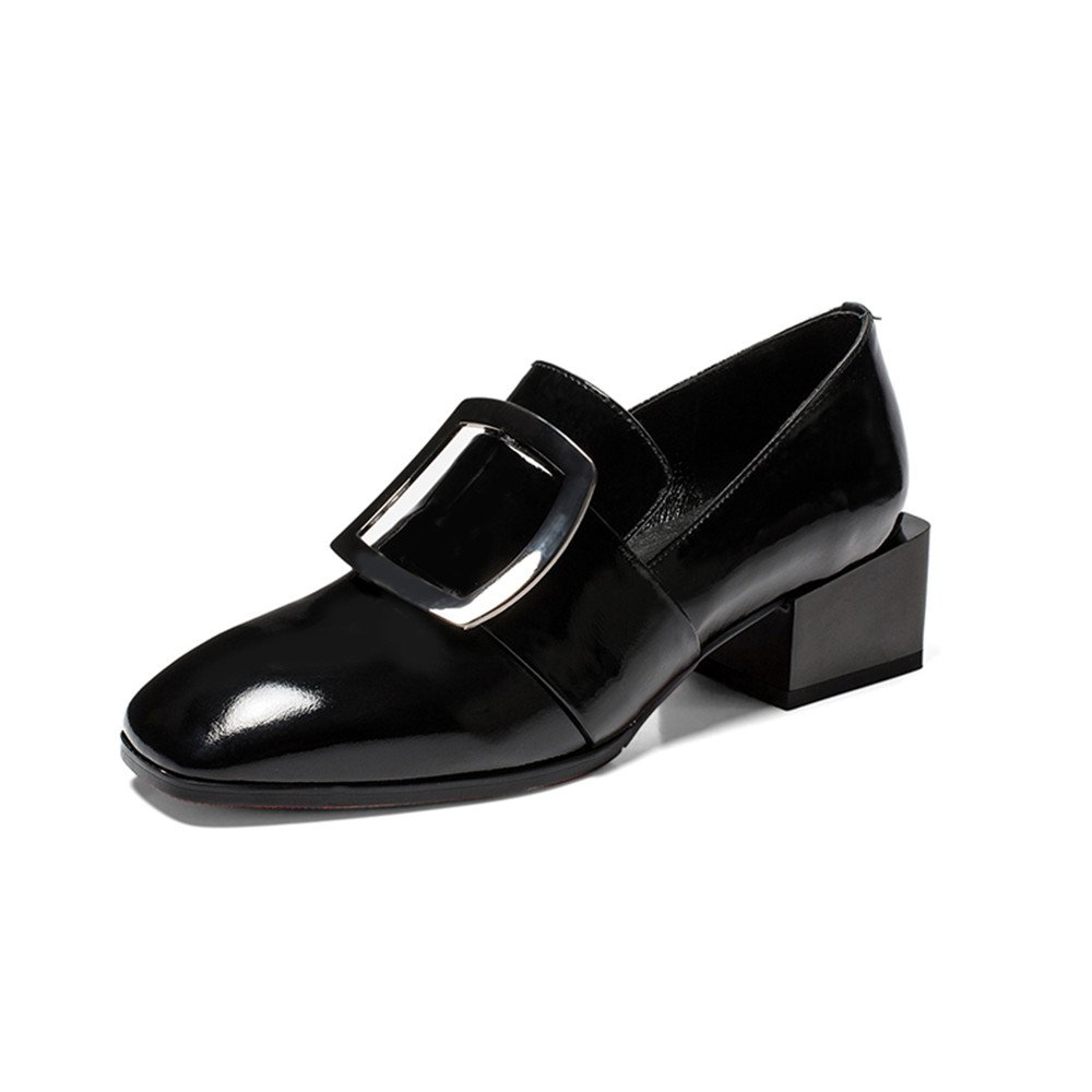 Nine Seven Patent Leather Women's Square Toe Low Heel Handmade Slip On OoxfordPumps (7, Black) by Nine Seven
