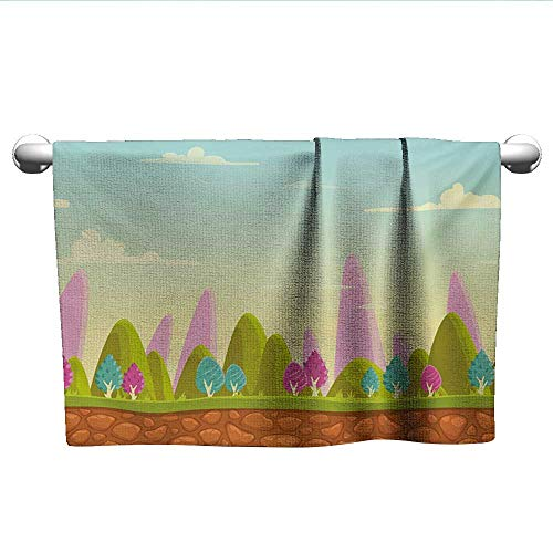 alisoso Forest,Kids Bath Towels Fantasy Cartoon Landscape for Kids and Toddlers Colorful Trees Country Panorama Quick-Dry Towels Multicolor W 24