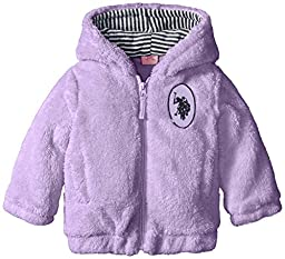 U.S. Polo Assn. Baby-Girls Coral Fleece Plush Jacket, Lavender, 18 Months