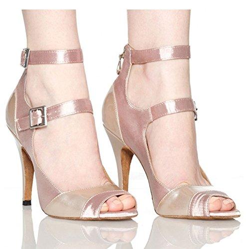 Dance Womens Toe Rumba Satin 8 Modern Beige High M Peep Samba Wedding Heel US Stilettos 5 TDA Shoes Latin CdqOq