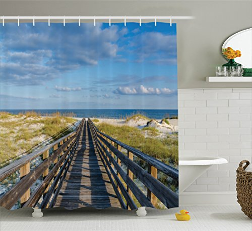 Ambesonne Seaside Decor Collection, Deck to The Alabama Gulf Coast Timber Honeymoon Travel Destinations Summer Image, Polyester Fabric Bathroom Shower Curtain Set with Hooks, Blue Green Ivory ()