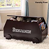 Personalized Modern Essentials Toy Box with Book Storage - Espresso with Custom Font Choices