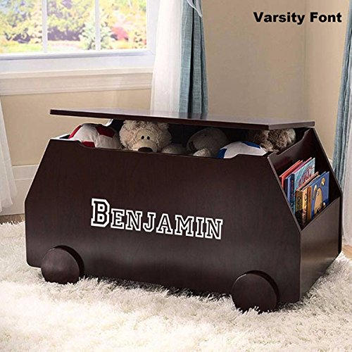 Personalized Modern Essentials Toy Box with Book Storage - Espresso with Custom Font Choices by DIBSIES Personalization Station