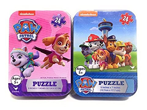 Paw Patrol Mini Puzzles in Travel Tin Cases Collectible Bundle Set of 2 (with Skye and Everest) - Mini Tin Case