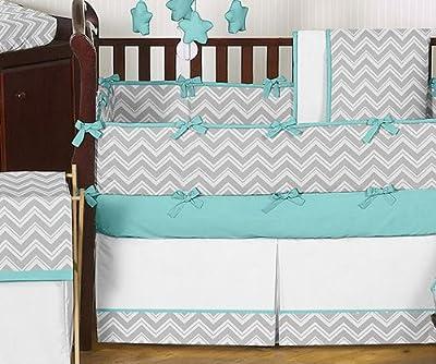 Gray and Turquoise Chevron Zig Zag Gender Neutral Baby Bedding 9 pc Boy or Girl Crib Set
