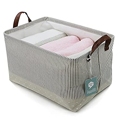 Storage Baskets made from Eco-Friendly Cotton. Universal Household Storage Organizer. Works as Baby Storage and Toy Organizer. Nursery Baskets Fit Most Shelves(Beige)