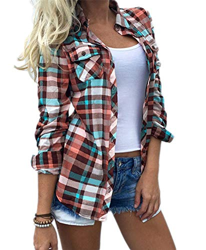 Wisptime Women Paid Flannel Shirts Long Sleeve Casual Blouses Gingham Checkered Shirt (Red, L)