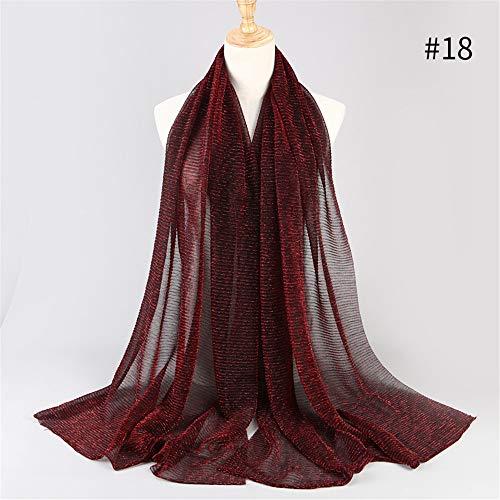 HYIRI Women'S Ladies Stretch Gold Silk High-End Fashion Hui People Hijab Muslim Scarf Headscarf Beach Towel Wrap