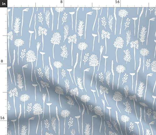Blue Botanical Fabric - Floral Summer Home Decor Seed Grass Flower Nursery Modern White Hand Drawn Heads Print on Fabric by The Yard - Chiffon for Sewing Fashion Apparel Dresses - Rebecca Drapes