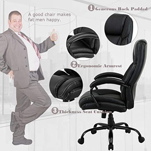 High-Back Big and Tall 500lb Home Office Chair,Ergonomic PU Executive Chair with Lumbar Support Headrest Swivel Chair for Women, Men (Black) by FDW (Image #1)