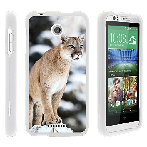 TurtleArmor | Compatible for HTC Desire 510 Case [Slim Duo] Slim Compact 2 Piece Hard Snap On Case Grip Matte Coating on White Animal Design - Mountain Cougar