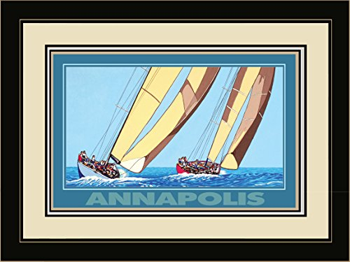 Northwest Art Mall DL-3752 LFGDM TSB Annapolis Two Sailboats Framed Wall Art by Artist David Linton, 20 x - Mall Annapolis