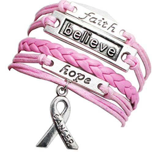 JewelryJo Faith Believe Hope Cancer Awareness Ribbon Braided Pink Leather Rope Wrap Bracelets for Women -