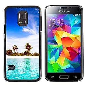 EJOY---Cubierta de la caja de protección la piel dura para el ** Samsung Galaxy S5 Mini, SM-G800 ** --Blue Water White Sand