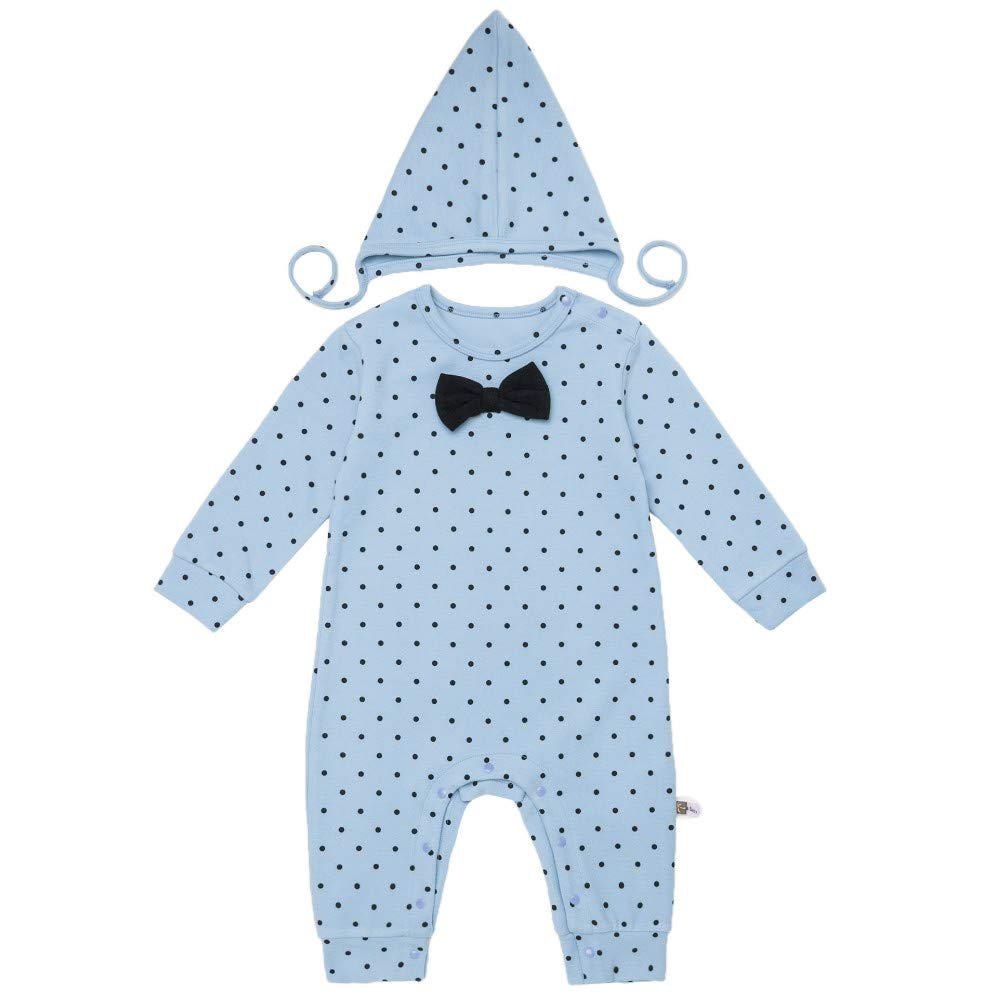 Teeker Unisex Onesies Cotton Jumpsuit with Cap Long Sleeve Dot Printed Baby Body Suit