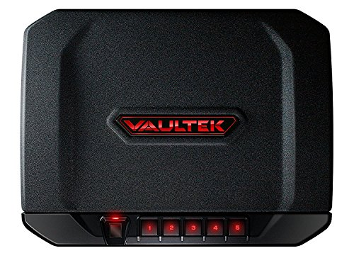 Vaultek VT20i Biometric Handgun Safe Bluetooth Smart Pistol Safe with Auto-Open Lid and Rechargeable Battery (Black)