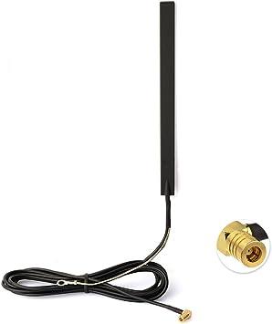 Eightwood Dab + Dab Antena Adaptador SMB Radio de Coche Antena amplificada Montaje de Vidrio con Enchufe SMB antenan 3m 9.8ft Antena RG174 para Radio ...