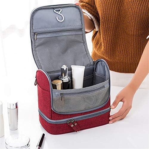 化粧品袋 パターンZIP形式ストレージポーチ女性の女の子と大小メイクアップバッグ化粧ケーストイレタリーバッグバニティケース 旅行化粧収納ボックス (Color : Red)