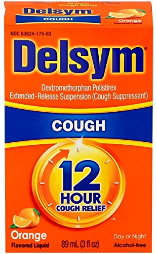 Delsym Adult Cough Suppressant Liquid, Orange Flavor, 5 Ounce (Pack of 12)