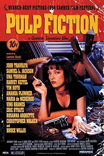 Mítico póster de Pulp Fiction con la sensual e inmortal Uma Thurman fumándose su cigarrillo