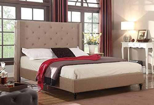 Home Life Premiere Classics Cloth Light Brown Linen 51'' Tall Headboard Platform Bed with Slats King - Complete Bed 5 Year Warranty Included 007 by LIFE Home