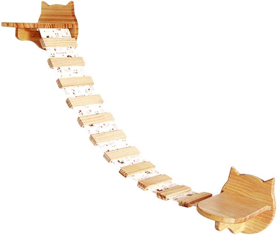 HC - Centro de actividad para gatos, de madera, montado en la pared, puente colgante