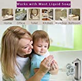 AicLuze Soap Dispenser - Automatic Touchless Liquid Kitchen Soap Dispenser with Waterproof Base, Infrared Motion Sensor Stainless Steel Dish Liquid Hands-Free Auto Soap Dispenser [New Version]