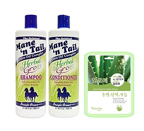 Mane 'n Tail Herbal Gro Shampoo & Conditioner Olive Oil Complex 27.05oz W/ Aloe Mask