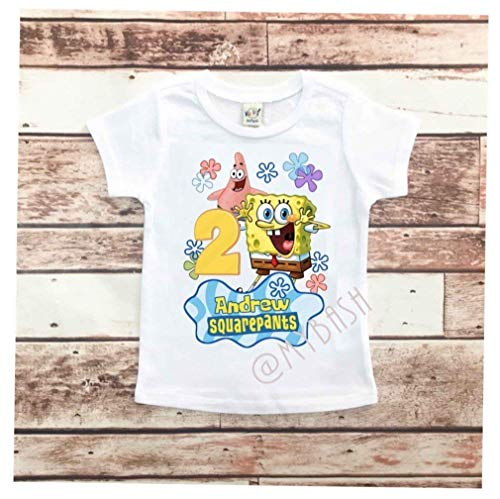 Personalize Spongebob Birthday T-Shirt - Birthday Outfit - w/Name & Age]()
