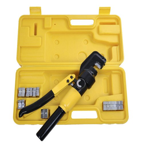 8 Ton Hydraulic Wire Crimper Crimping Tool with 9 Dies Battery Cable Lug Terminal Electrical Crimping Tool Kit (Die Crimper)