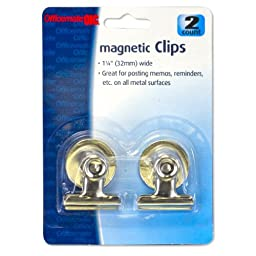 Officemate 1.25-Inch Magnetic Spring Clip, 2 in a Pack, Silver (30112)