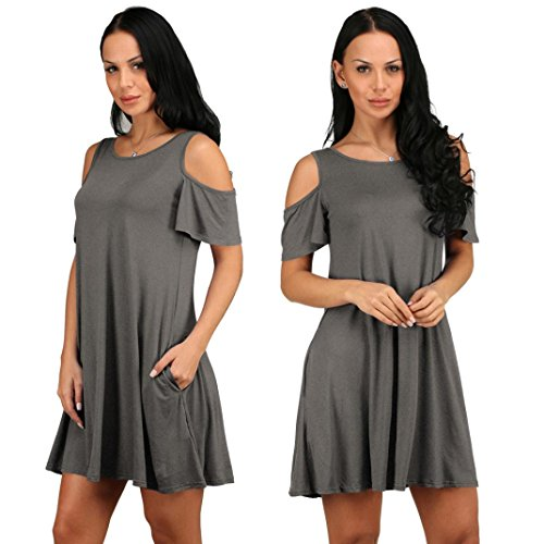 Mini Dress Cotton Loose Solid Off-Shoulder Casual Sundress ()
