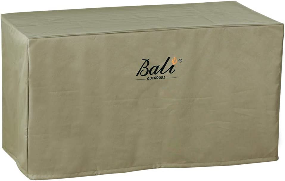 BALI OUTDOORS Rectangular Fire Pit Covers, Waterproof and Weather Resistant PVC Material, Khaki, 42.2