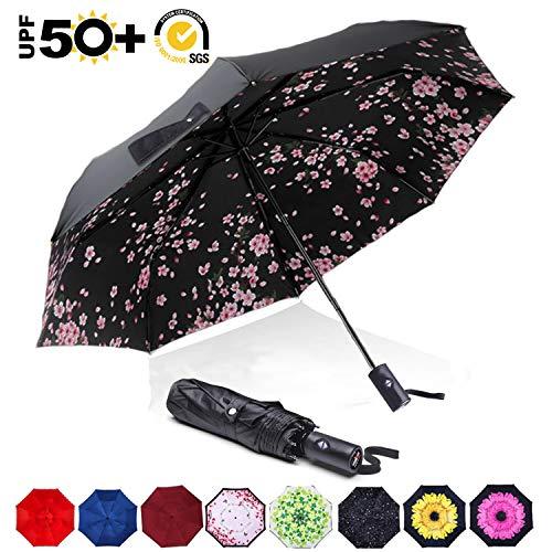 (ABCCANOPY Umbrella Compact Rain&Wind Teflon Repellent Umbrellas Sun Protection with Black Glue Anti UV Coating Travel Auto Folding Umbrella, Blocking UV 99.98%)