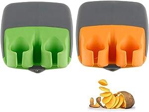 2 Pcs Hand Vegetable Peeler Palm Peeler Rubber Finger Grips Comfortable to Peel Pumpkin, Carrot, Cucumber, Potato and More