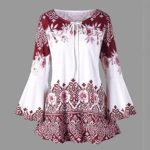 Casual Shirt Blouse Shirt Bandage Longues T Manches Sport Beikoard Tops Lâche Chemisiers de T Mode Rouge Femmes Femme T Tops imprimé Sweat Shirts xwvA0qC6nw
