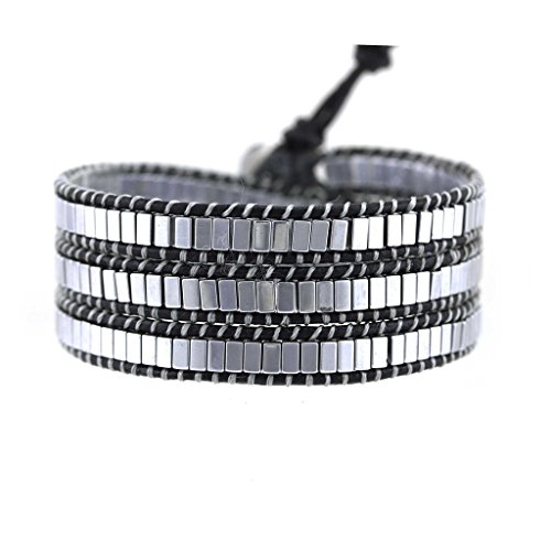 Silver Square Beaded Genuine Black Leather Triple Wrap Punk Style for Men Women Unisex by Balla by Balla