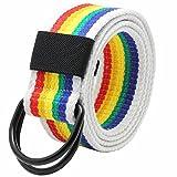 Nidicus Fashion Mens Black Double D-Rings Canvas Cotton Webbing Waist Belt Rainbow 130