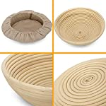 10 Inch Bread Proofing Basket - Banneton Proofing Basket + Cloth Liner + Dough Scraper + Bread Lame + Starter Recipe Set - Sourdough Basket Set For Professional and Home Bakers Artisan Bread Making 11 PERFECT SIZE FOR BAKING BREAD: 10-inch diameter x 3.5-inch height allows for 1.5lbs of dough for a medium to large size loaf ECO FRIENDLY MATERIAL: Made from 100% natural rattan and comply with US food standards, Lightweight, extremely durable and easy to use GREAT VALUE: Proving Basket + FREE DOUGH SCRAPER + FREE LINER + FREE BREAD LAME + FREE SOURDOUGH STARTER TUTORIAL