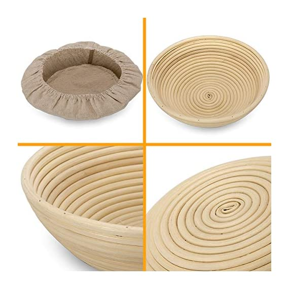 10 Inch Bread Proofing Basket - Banneton Proofing Basket + Cloth Liner + Dough Scraper + Bread Lame + Starter Recipe Set - Sourdough Basket Set For Professional and Home Bakers Artisan Bread Making 3 PERFECT SIZE FOR BAKING BREAD: 10-inch diameter x 3.5-inch height allows for 1.5lbs of dough for a medium to large size loaf ECO FRIENDLY MATERIAL: Made from 100% natural rattan and comply with US food standards, Lightweight, extremely durable and easy to use GREAT VALUE: Proving Basket + FREE DOUGH SCRAPER + FREE LINER + FREE BREAD LAME + FREE SOURDOUGH STARTER TUTORIAL