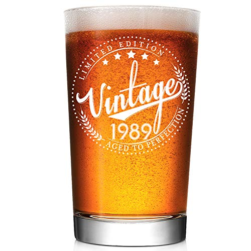 1989 30th Birthday Gifts for Men and Women - 30 Years Old Birthday Gift Ideas, Party Favor for Him or Her - Vintage Funny Anniversary Gifts for Mom, Dad, Husband, Wife - 16oz Old Fashion Beer Glass -