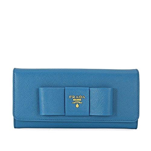 Prada Continental Saffiano Leather Wallet - Fiocco Cobalto